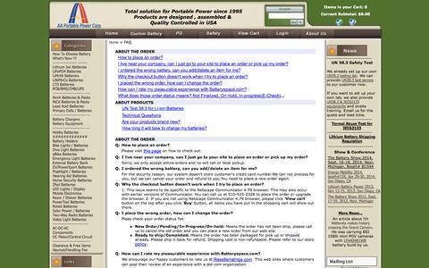 Screenshot of FAQ Page batteryspace.com - FAQ - captured Sept. 19, 2014