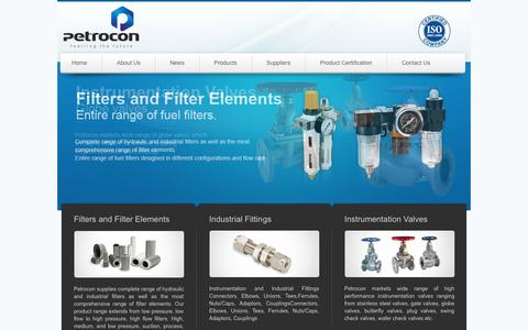 Screenshot of Home Page petrocongulf.com - Petrocon supplies complete range of hydraulic and industrial filters as well as the most comprehensive range of filter elements. - captured Oct. 2, 2014