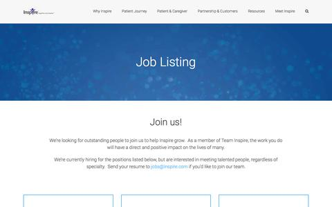Screenshot of Jobs Page inspire.com - Join Us | Be a part of Team Inspire now! - captured April 7, 2017
