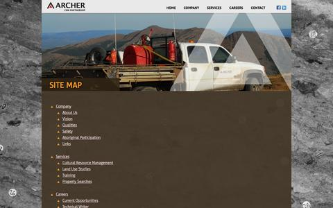Screenshot of Site Map Page archercrm.ca - Archer CRM - archaeology and heritage, cultural resource management, and land use studies - captured Feb. 5, 2016
