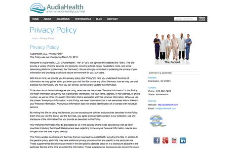Screenshot of Privacy Page audiahealth.com - AudiaHealth - a human voice to help you healPrivacy Policy - captured Oct. 4, 2014
