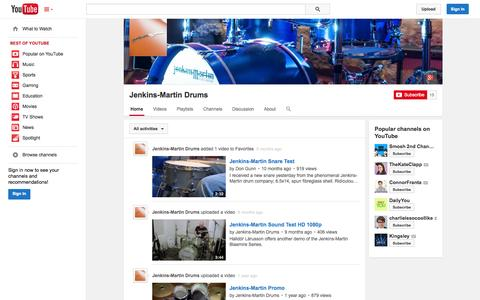 Screenshot of YouTube Page youtube.com - Jenkins-Martin Drums  - YouTube - captured Oct. 23, 2014
