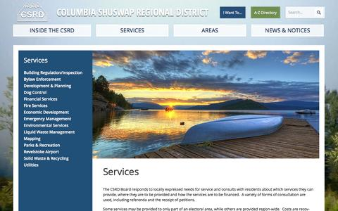 Screenshot of Services Page csrd.bc.ca - Services | Columbia Shuswap Regional District - captured Oct. 8, 2014