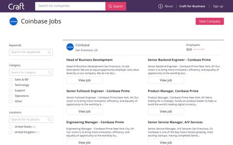 Screenshot of Jobs Page craft.co - Jobs at Coinbase | Craft.co - captured Jan. 16, 2019