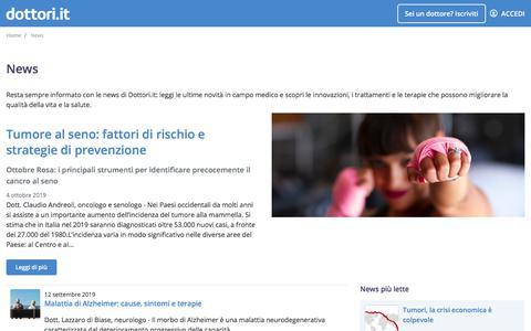 Screenshot of Press Page dottori.it - Le ultime news in ambito medico | Dottori.it - captured Oct. 10, 2019