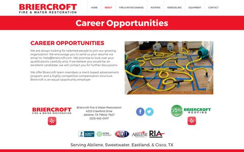 Screenshot of Jobs Page briercroft.com - Roofing Contractor in Abilene, Sweetwater, Eastland, & Cisco, TX - captured Oct. 11, 2017