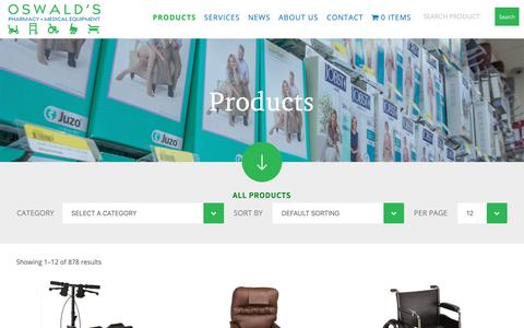 Screenshot of Products Page oswaldspharmacy.com - Our Products | Oswald's Pharmacy - captured Oct. 15, 2018