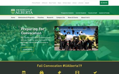 Screenshot of Home Page ualberta.ca - University of Alberta   University of Alberta - captured Nov. 18, 2019
