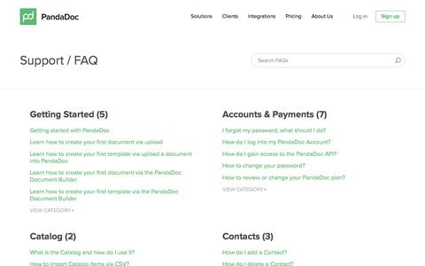 Screenshot of FAQ Page pandadoc.com - FAQs - captured May 10, 2016