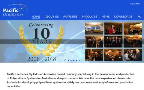 Screenshot of Home Page pacificurethanes.com - Polyurethane Formulation Specialists | Pacific Urethanes - captured Sept. 26, 2018