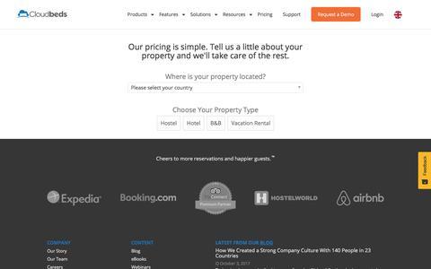 Screenshot of Pricing Page cloudbeds.com - Pricing - Cloudbeds - captured Oct. 19, 2017