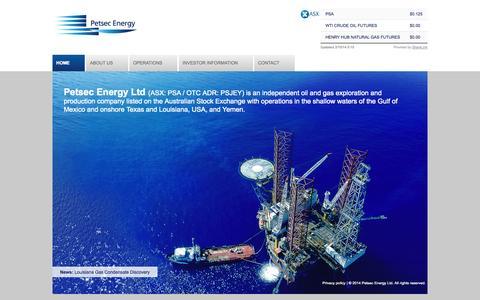 Screenshot of Home Page petsec.com.au - Petsec Energy Ltd - captured Oct. 2, 2014