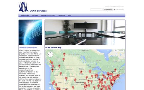 Screenshot of Maps & Directions Page vcav.com - VCAV Service Map - captured Feb. 13, 2016