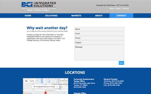 Screenshot of Contact Page bcifl.net - BCI Integrated Solutions | Let us help you solve your business needs - captured Nov. 21, 2016