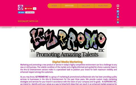 Screenshot of Services Page kzpromoinc.com - Services & Contact | reach out for business opportunities and hiring - captured June 9, 2017