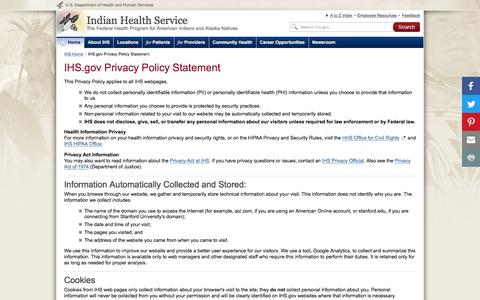 Screenshot of Privacy Page ihs.gov - IHS.gov Privacy Policy Statement | Indian Health Service (IHS) - captured Nov. 19, 2016