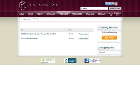 Screenshot of Products Page zeffert.com - Products - captured Oct. 27, 2014