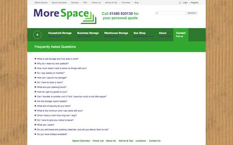Screenshot of FAQ Page morespacestorage.co.uk - Storage Frequently Asked Questions | Morespace Storage - captured Oct. 1, 2014