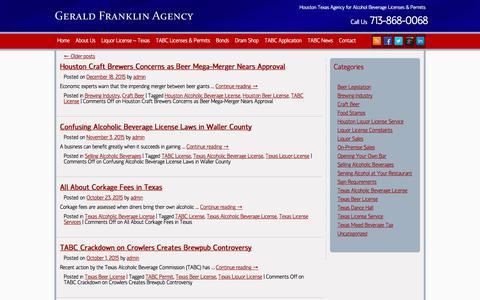 Screenshot of Blog geraldfranklinagency.com - Texas Liquor License Service | TABC Required Licenses - captured July 13, 2018