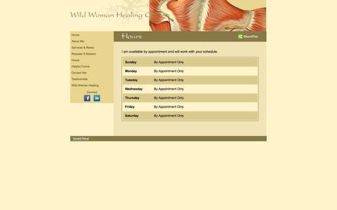 Screenshot of Hours Page ellejanelli.com - Wild Woman Healing Center - captured Sept. 25, 2016