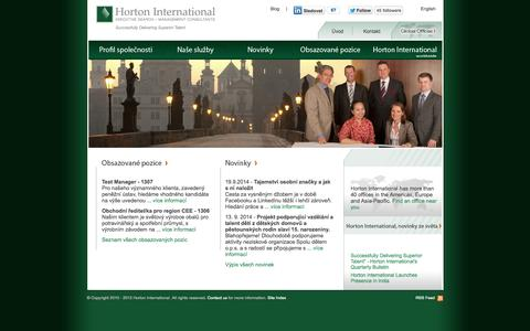 Screenshot of Home Page horton-intl.cz - Úvod | Horton International - captured Oct. 2, 2014