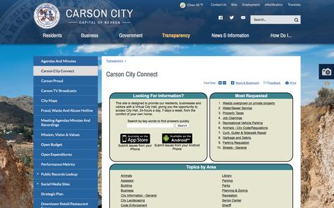 Screenshot of FAQ Page carson.org - Carson City : Carson City Connect - captured Sept. 19, 2016