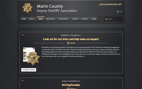 Screenshot of Press Page marincountydsa.com - News - captured Feb. 4, 2016