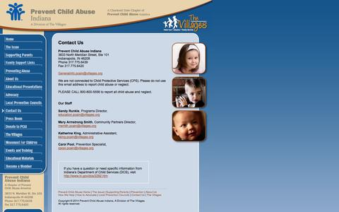 Screenshot of Contact Page pcain.org - Contact Us - Prevent Child Abuse in Indiana - captured Oct. 3, 2014