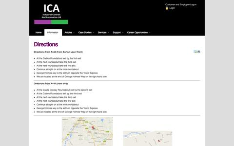 Screenshot of Maps & Directions Page ica.uk.com - Directions - captured Oct. 6, 2014