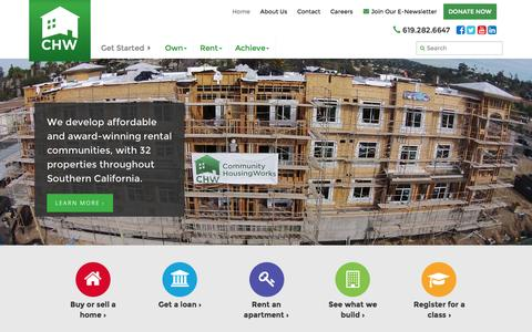 Screenshot of Home Page chworks.org - Community HousingWorks | Helping people own, rent and achieve in San Diego and beyond for over 30 years. Welcome home. - captured Sept. 18, 2015
