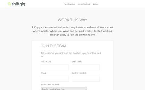 Apply Now | Shiftgig