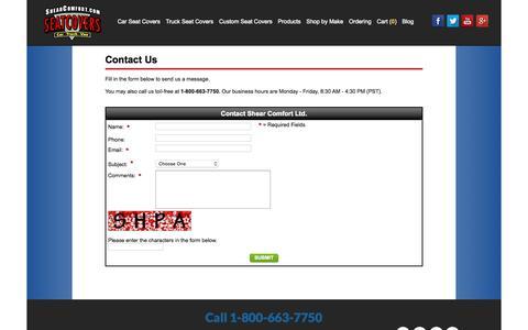 Screenshot of Contact Page shearcomfort.com - Contact Us - Shear Comfort Ltd. - captured Nov. 2, 2015