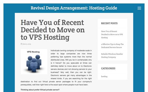 Screenshot of Home Page revivaldesignarrangements.com - RevivalDesignArrangement.com: What You Need to Know About Hosting - captured Aug. 16, 2015
