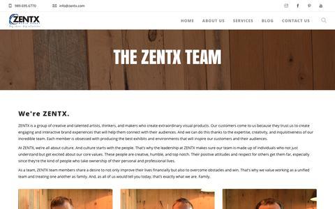 Screenshot of Team Page zentx.com - Our Team - ZENTX Media Group - captured Sept. 24, 2018
