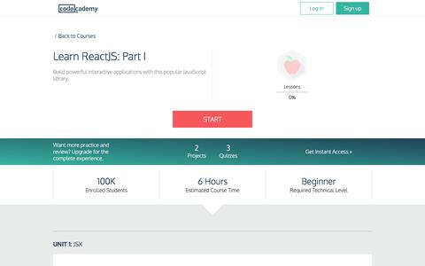 Learn ReactJS: Part I | Codecademy