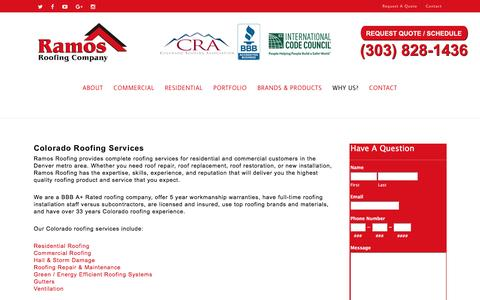 Screenshot of Services Page ramosroofing.com - Roofing Services | Roofer Denver & Boulder CO | Ramos Roofing - captured Dec. 2, 2016