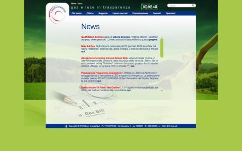 Screenshot of Press Page liberaenergia.it - News   Libera Energia – gas e luce in trasparenza - captured Oct. 2, 2014