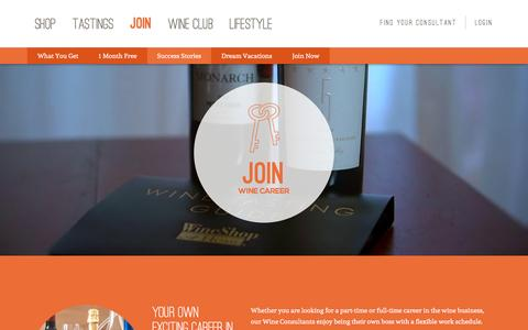 Screenshot of Signup Page wineshopathome.com - Join and Build a Career in the World of Wine - captured Jan. 11, 2016
