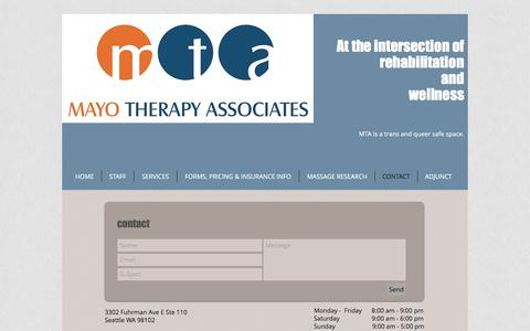 Screenshot of Contact Page mayotherapy.com - Mayo Therapy | CONTACT - captured Nov. 28, 2016