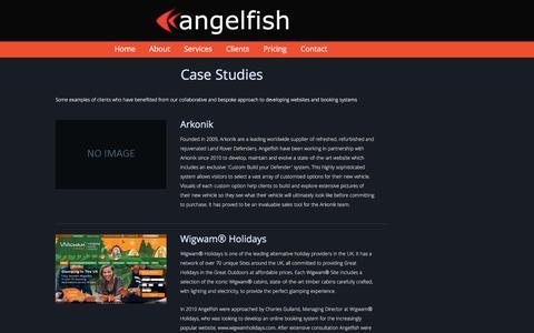 Screenshot of Case Studies Page angelfishsoftware.com - Angelfish - Websites Online Booking and Business Management Software - captured Jan. 12, 2017