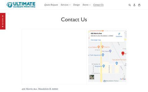 Screenshot of Contact Page ultim8screenprinting.com - Contact Us – Ultimate Screen Printing - captured Feb. 24, 2020