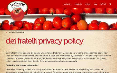 Screenshot of Privacy Page deifratelli.com - Dei Fratelli Privacy Policy - Dei Fratelli Tomatoes - captured June 24, 2017