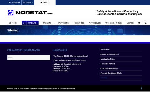 Screenshot of Site Map Page norstat.com - Sitemap - Norstat Safety, Automation & Connectivity Solutions - captured Nov. 16, 2018
