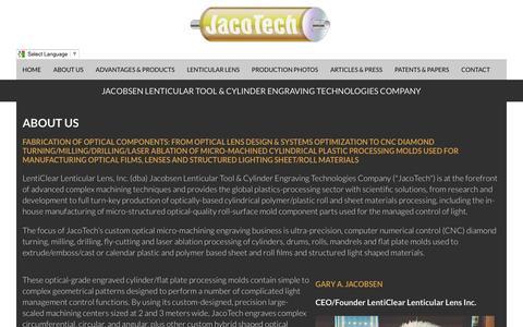 Screenshot of About Page jacotech.com - About   Jacotech Lenticular Lens - captured April 23, 2016