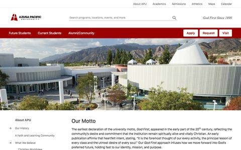 Our Motto - About APU - Azusa Pacific University