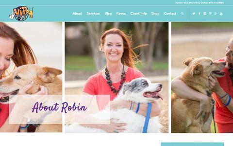 Screenshot of About Page vippets.net - About Robin Perdue - VIP Pets Dallas & Austin Petsitting - captured Nov. 8, 2017