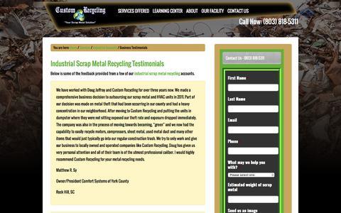 Screenshot of Testimonials Page customrecyclingnc.com - Industrial Scrap Metal Recycling Reviews / Feedback - NC, SC - captured Feb. 2, 2016