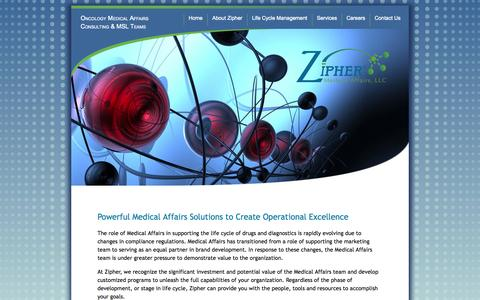Screenshot of Services Page ziphermed.com - Services Overview | Zipher Medical Affairs - captured Oct. 7, 2014