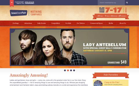 Screenshot of Home Page iowastatefair.org - Iowa State Fair | Nothing Compares - captured July 12, 2014