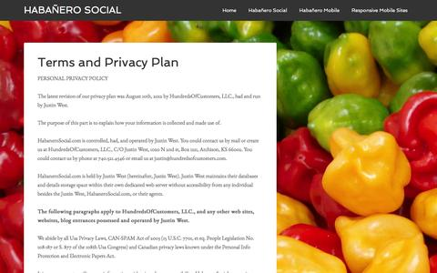 Screenshot of Privacy Page Terms Page habanerosocial.com - Terms and Privacy Plan - Habañero Social - captured Jan. 3, 2017